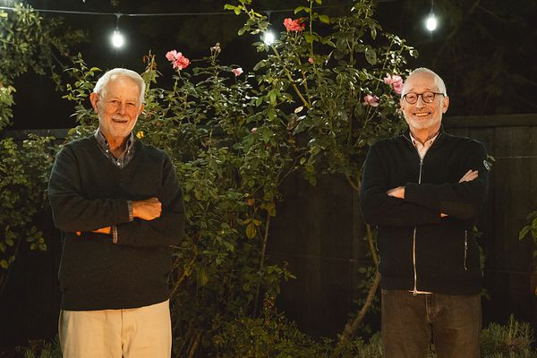 In this Monday, Oct. 12, 2020 photo provided by Stanford University, Robert Wilson, left, and Paul Milgrom stand for a photo in Stanford, Calif. The two American economists, both professors at Stanford, won the Nobel Prize in Economics for improving how auctions work. That research that underlies much of today's economy — from the way Google sells advertising to the way telecoms companies acquire airwaves from the government. (Andrew Brodhead/Stanford News Service via AP)