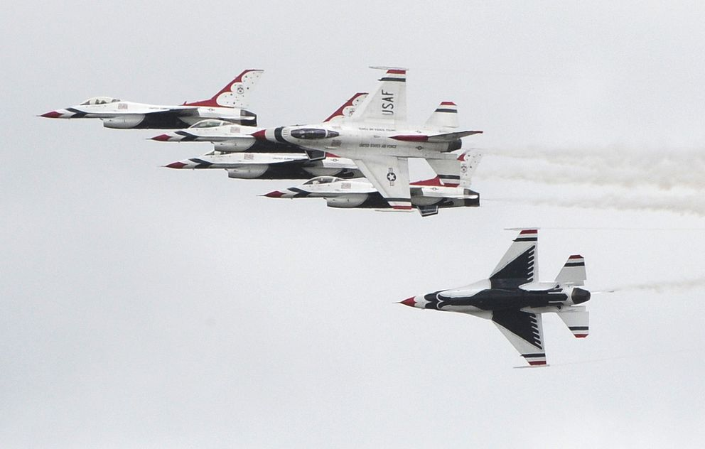 The U.S. Air Force Thunderbirds arrived at Joint Base Elmendorf-Richardson on Wednesday after a five-hour flight from their home base at Nellis Air Force Base in Nevada. (Bill Roth / ADN)