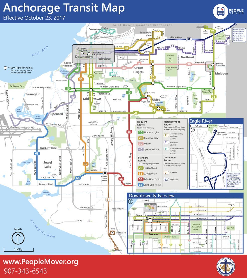 The new Anchorage bus system map, showing routes. (People Mover)