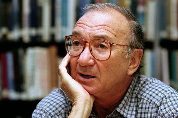 FILE- In this Sept. 22, 1994, file photo, american playwright Neil Simon answers questions during an interview in Seattle, Wash. Simon, a master of comedy whose laugh-filled hits such as