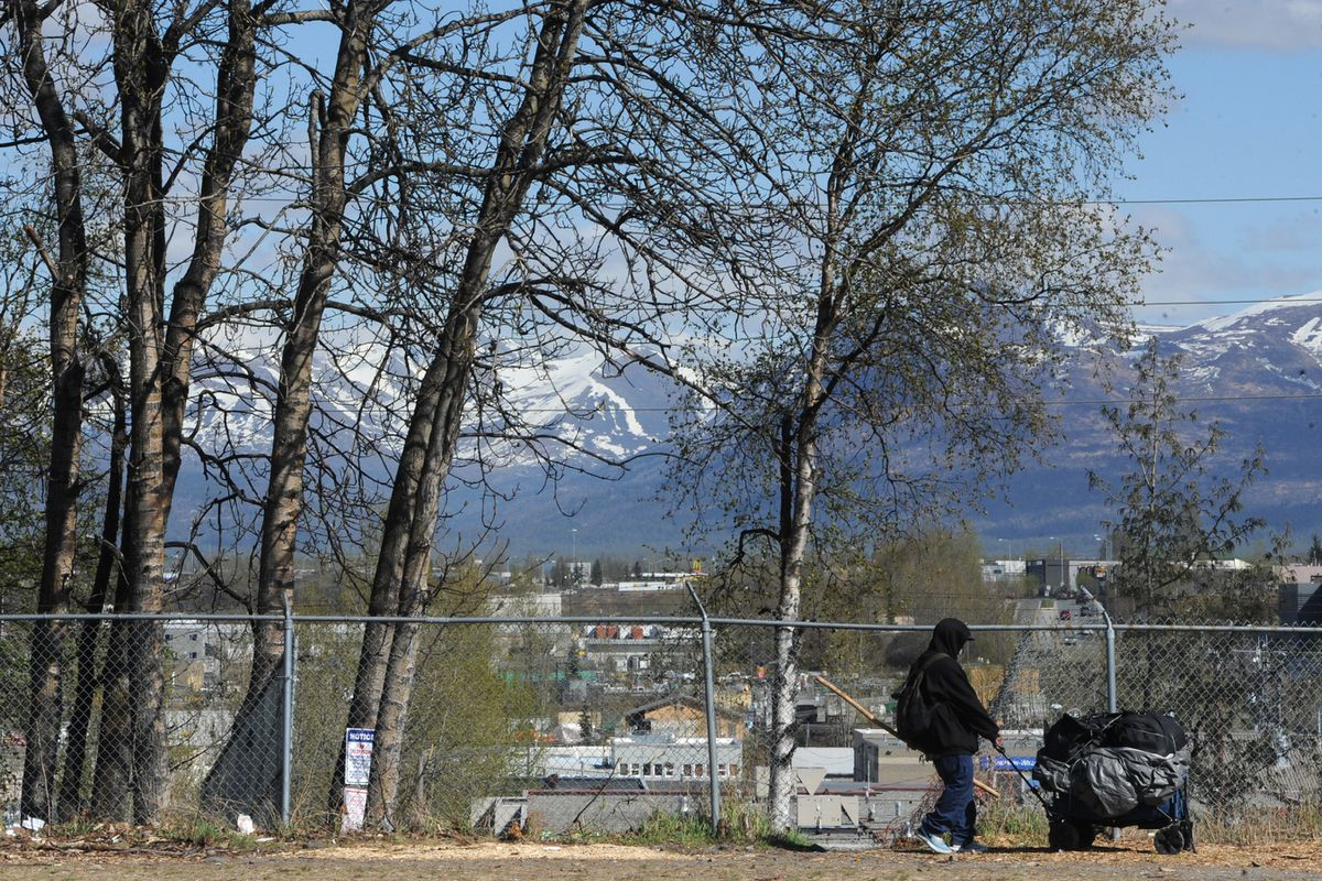 A person pulls their belongings along a fence on Tuesday, May 12, 2020, back into the area a day after a large homeless camp near 3rd Avenue and Ingra Street was removed by Anchorage Police and a crew from Parks and Recreation. (Bill Roth / ADN)