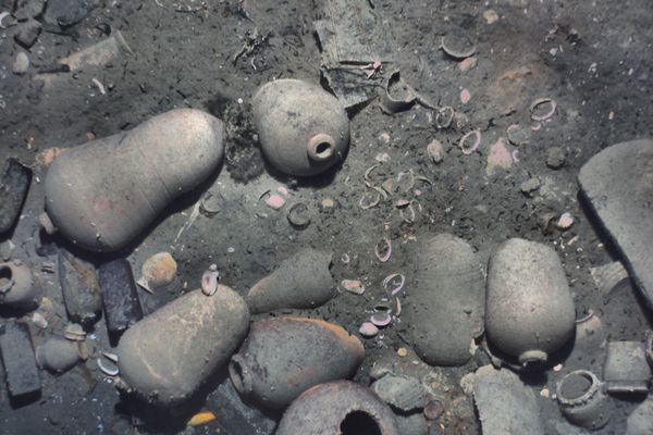 The wreck was partially sediment-covered, but with the camera images from the lower altitude REMUS missions, the crew was able to see new details, such as ceramics and other artifacts. MUST CREDIT: REMUS image, Woods Hole Oceanographic Institution