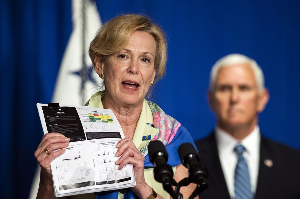 White House coronavirus response coordinator Dr. Deborah Birx holds a graph as she speaks during a White House Coronavirus Task Force briefing at the Department of Education building Wednesday, July 8, 2020, in Washington. (AP Photo/Manuel Balce Ceneta)