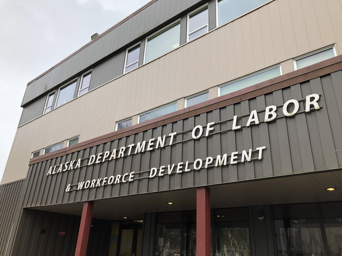 The offices of the Alaska Department of Labor and Workforce Development, photographed April 9, 2020 in Juneau. (James Brooks / ADN)