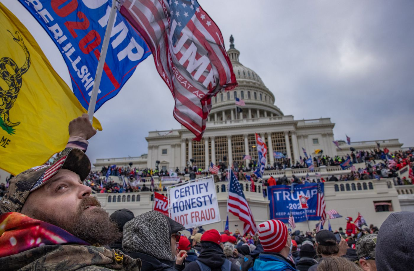 Supporters demonstrate on behalf of President Donald Trump at the U.S. Capitol on Jan. 6, 2021. Photo for The Washington Post by Evelyn Hockstein