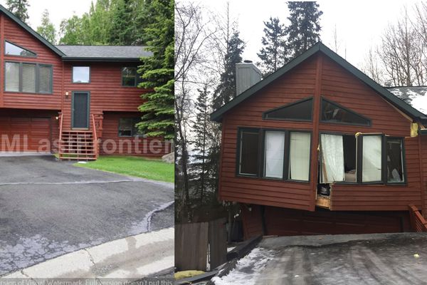At left, the house on Dome Circle in Eagle River before it collapsed in Friday's quake. At right, the house as it looks now. (Courtesy photo, left, and Matt Tunseth photo, right)