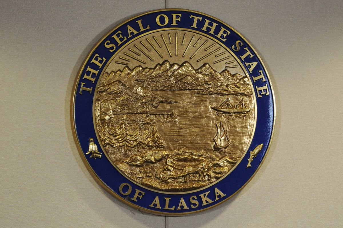 The Seal of the State of Alaska in the governor's conference room in Anchorage on Monday, April 22, 2019. (Bill Roth / ADN)