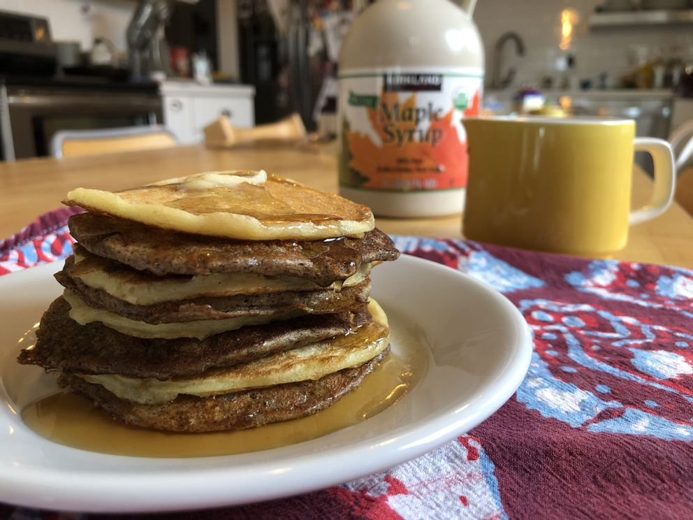 Sourdough pancakes made with whole grain and white flour. (Julia O'Malley / ADN)