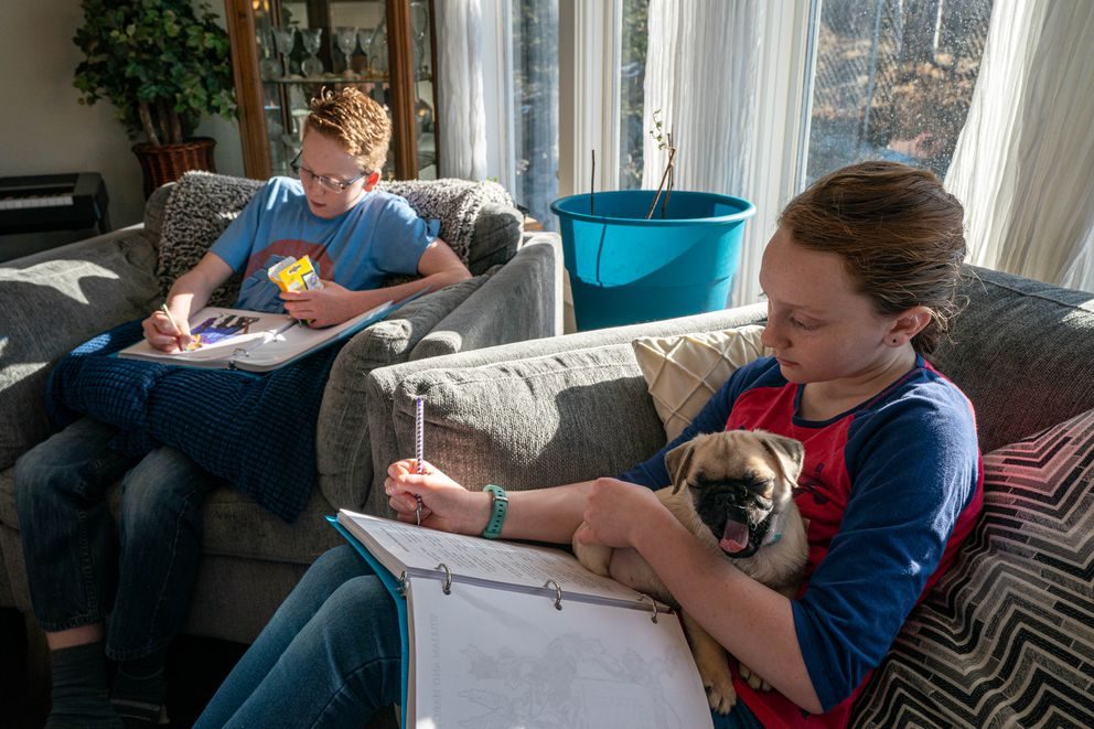 Kael Bradley, 12, and his sister Eden, 11, holding Titan the pug, work on a history lesson. (Loren Holmes / ADN)