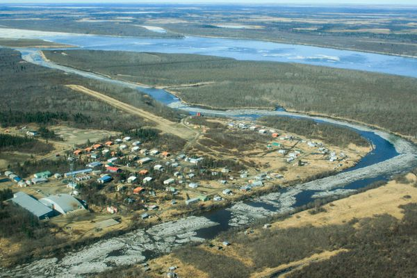 The village of Tuluksak and the Kuskokwim River are seen on May 5, 2015, in this file photo. (Lisa Demer / Alaska Dispatch News)