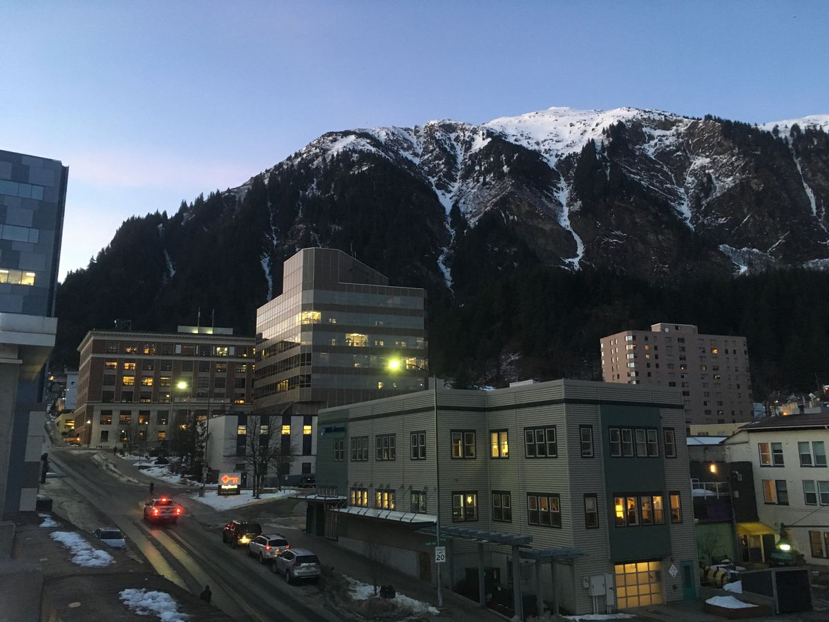 Downtown Juneau, including the Alaska State Capitol (background left) is seen on the evening of Feb. 25, 2019. (James Brooks / ADN)