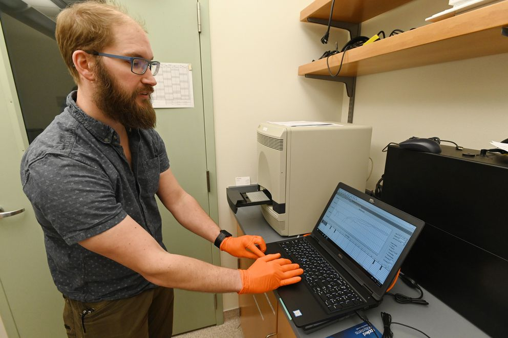 Public Health Microbiologist John Laurance said this thermal cycler, center, was used to analyze patient samples for the coronavirus in the Alaska State Public Health Laboratory in Anchorage over the weekend. Tuesday, March 3, 2020. (Bill Roth / ADN)