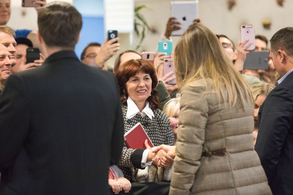 First lady Melania Trump shakes hands during a Veterans Day event at the Arctic Oasis Community Center on Friday. (Loren Holmes / Alaska Dispatch News)