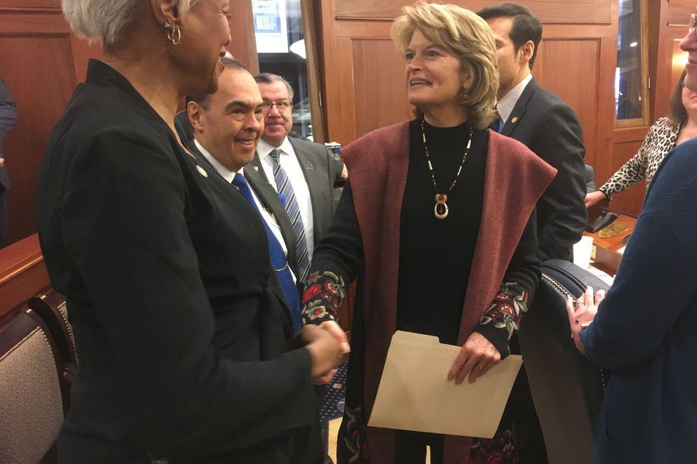 U.S. Sen. Lisa Murkowski shakes the hand of state Sen. Elvi Gray-Jackson, D-Anchorage, after Murkowski's annual address to the Alaska Legislature on Tuesday, Feb. 19, 2019 in the Alaska Capitol. (James Brooks / ADN)