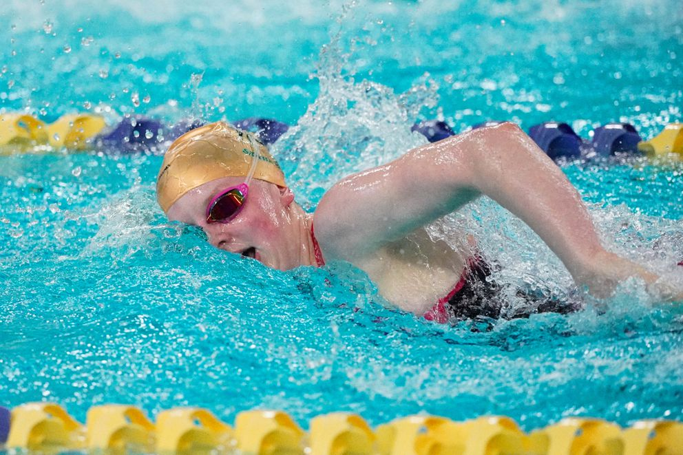 Lydia Jacoby competes in the 200-yard IM at the 2019 high school championships at Bartlett High. (Loren Holmes / ADN)