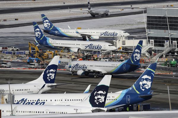 In this Feb. 5, 2019, file photo, Alaska Airlines planes are parked at a gate area at Seattle-Tacoma International Airport in Seattle. (AP Photo/Ted S. Warren, File)