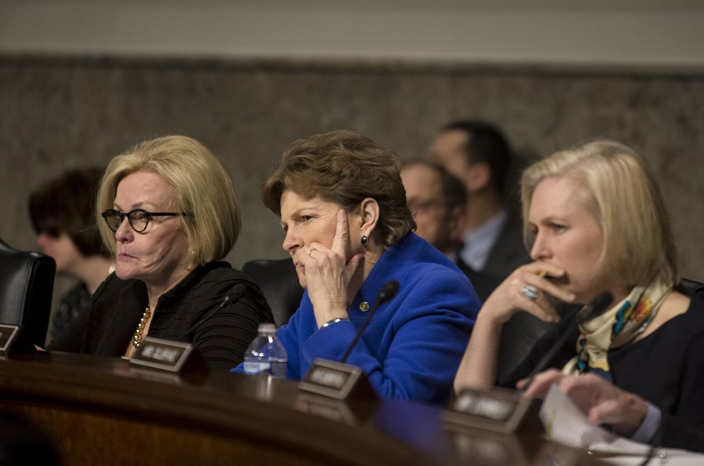 From left: Sens. Claire McCaskill (D-Mo.), Jeanne Shaheen (D-N.H.) and Kirsten Gillibrand (D-N.Y.) during a Senate Armed Services hearing on the Marines United photo-sharing scandal, on Capitol Hill in Washington on Tuesday. (Gabriella Demczuk/The New York Times)