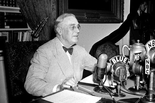 FILE - In this June 12, 1944, file photo President Franklin D. Roosevelt speaks on a national radio program from the White House in Washington. (AP Photo/Eugene Abbott, File)