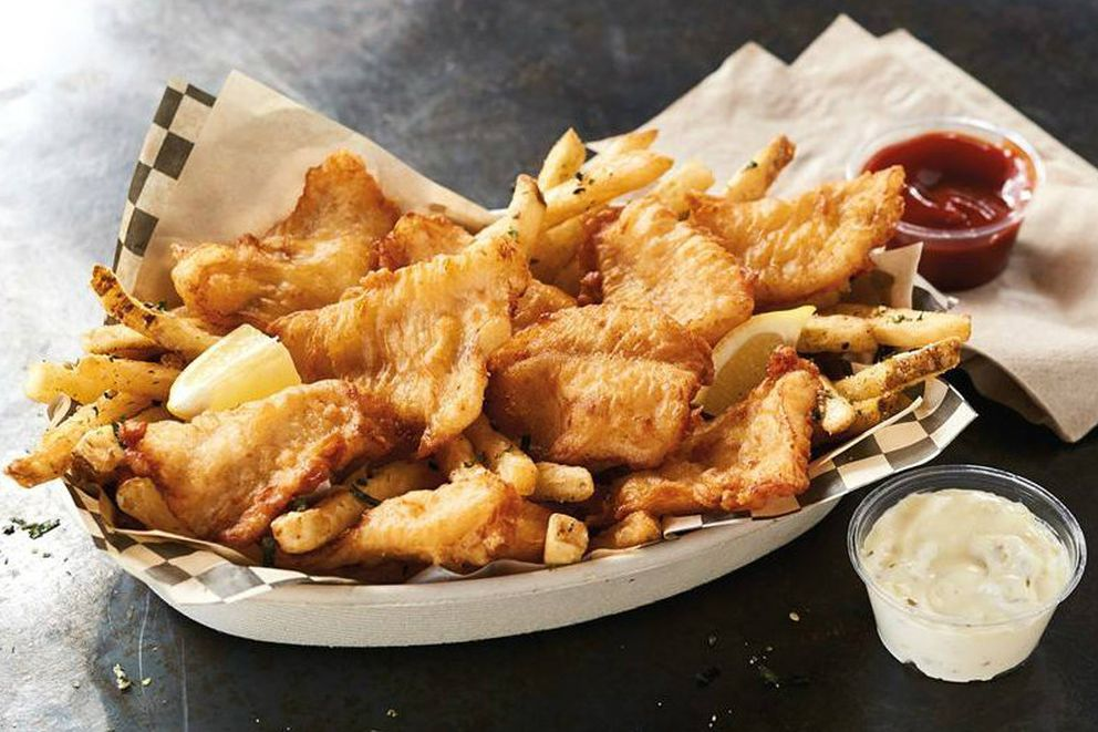 The Fork & Fin food truck — presented by Trident Seafoods — highlights dishes made with Alaska pollock, such as this fish and chips entree. (Photo courtesy Fork & Fin Facebook page via Trident Seafoods)