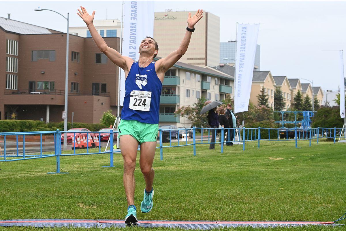 Benjamin Kopecky of St. Louis won the Anchorage Mayor's Marathon on his 36th birthday. (Bill Roth / ADN)