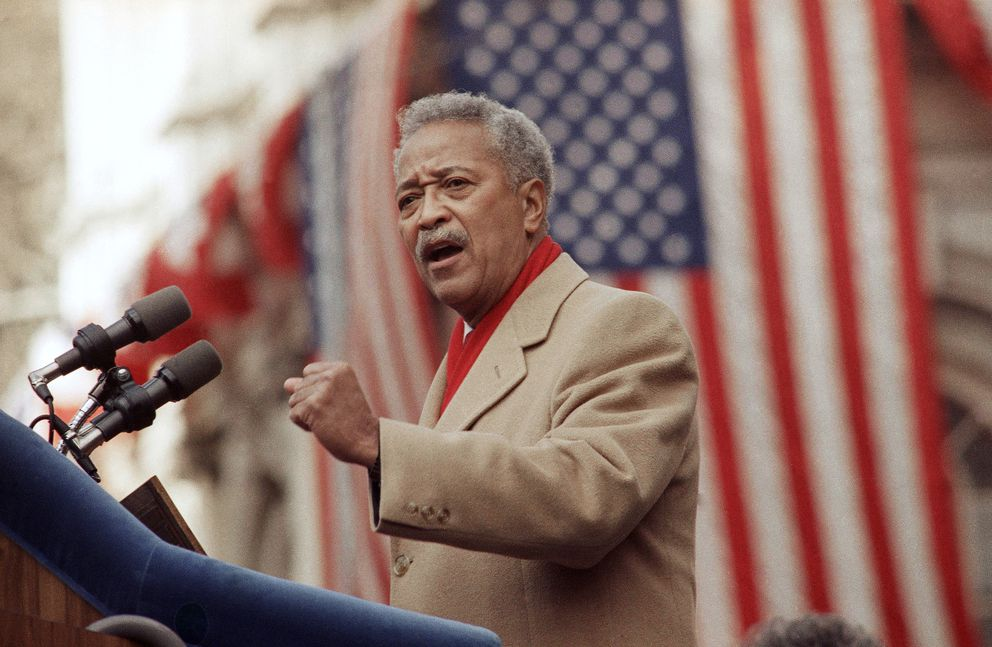 FILE - In this Jan. 2, 1990, file photo, David Dinkins delivers his first speech as mayor of New York, in New York. Dinkins, New York City's first African-American mayor, died Monday, Nov. 23, 2020. He was 93. (AP Photo/Frankie Ziths, File)