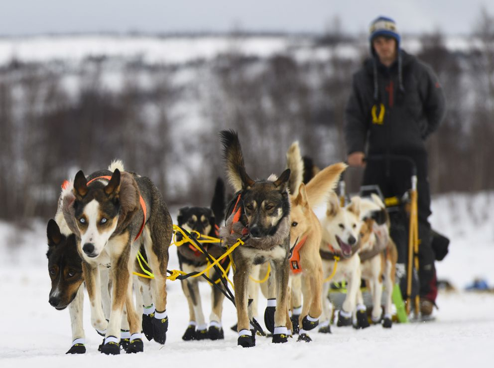 Joar Leifseth Ulsom departs the ghost town checkpoint of Iditarod on March 7, 2019, during the Iditarod Trail Sled Dog Race. (Marc Lester / ADN)