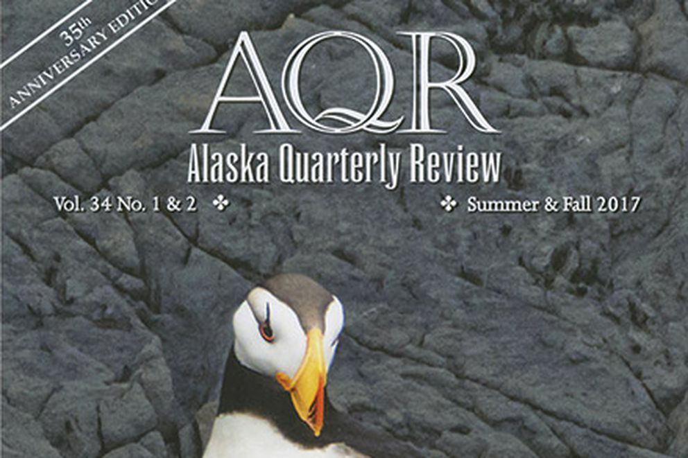 The cover of Alaska Quarterly Review's Summer Fall 2017 edition. Cover art of a a horned puffin in St. Herman Harbor, Kodiak, Alaska, was made by Marion Owen.