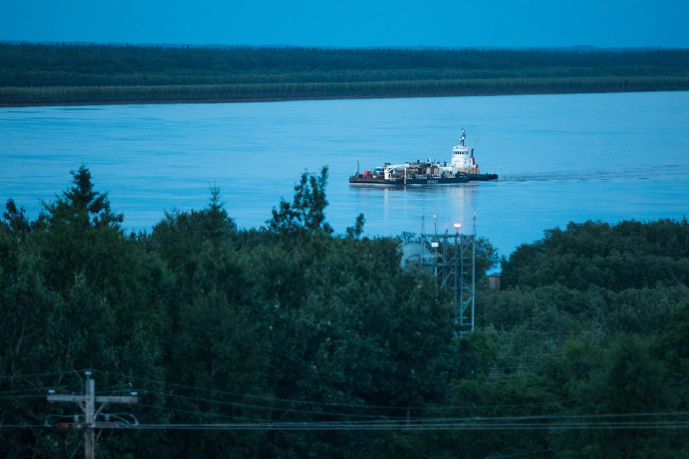 A Crowley fuel barge arrives in Russian Mission to deliver fuel to the school and city. (Loren Holmes / ADN)