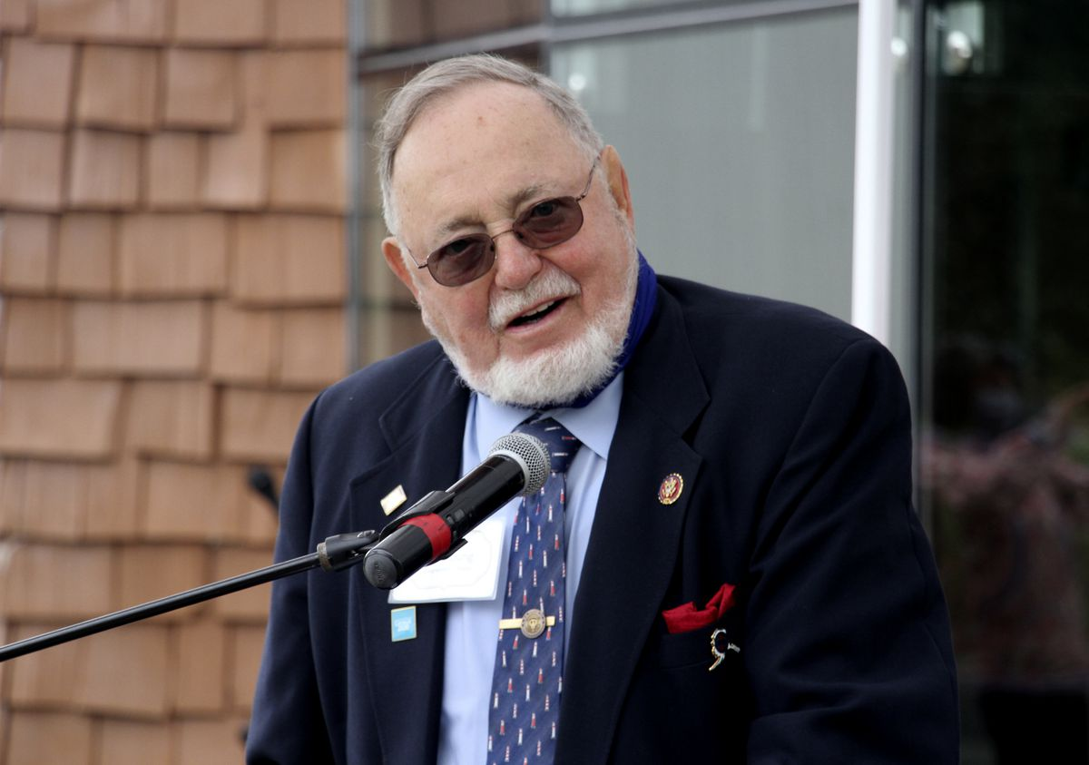 In this Aug. 26, 2020, photo, U.S. Rep. Don Young, an Alaska Republican, speaks in Anchorage. (AP Photo/Mark Thiessen)