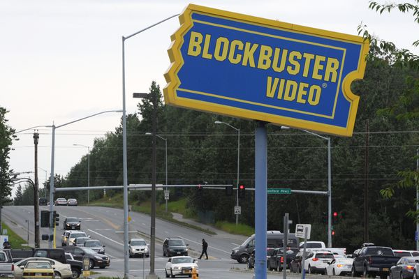 The Blockbuster Video on DeBarr Road is one of two Blockbuster stores remaining in Anchorage, and one of six stores in Alaska on Monday, July 24, 2017. (Bill Roth / Alaska Dispatch News)