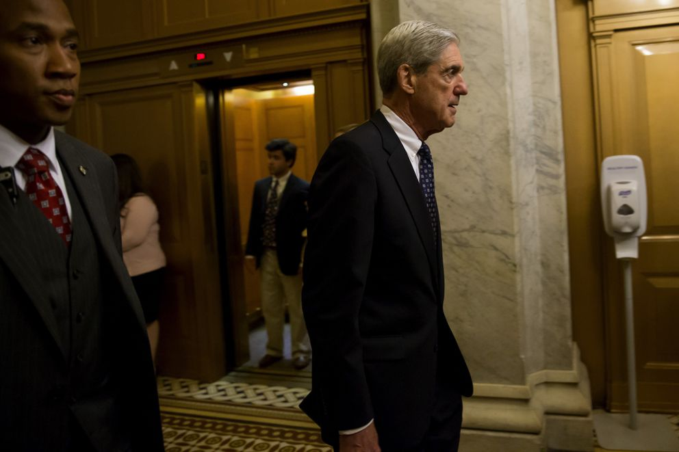 Special Counsel Robert Mueller leaves a meeting with members of the Senate Judiciary Committee in Washington on June 21, 2017. MUST CREDIT: Bloomberg photo by Eric Thayer.