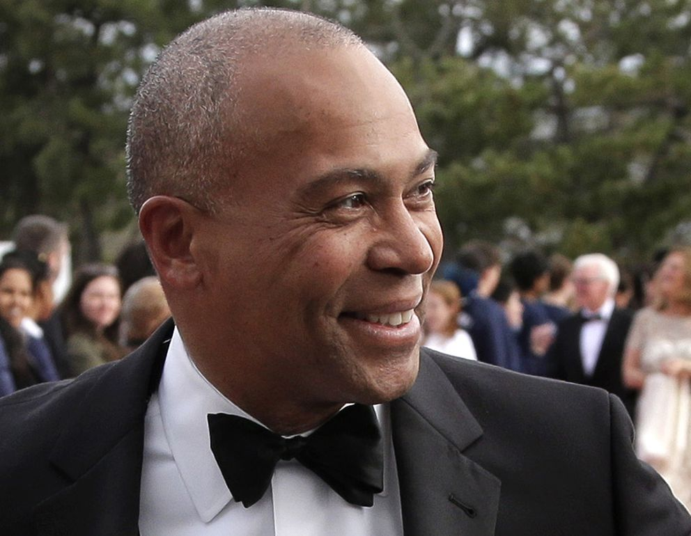 FILE - In this May 7, 2017 file photo, former Massachusetts Gov. Deval Patrick arrives at the John F. Kennedy Presidential Library and Museum in Boston for the 2017 Profile in Courage award ceremony. Former Massachusetts Gov. Deval Patrick is telling allies he plans to seek the Democratic presidential nomination. That's according to a person with knowledge of his plans who spoke to The Associated Press on condition of anonymity to discuss private conversations. (AP Photo/Steven Senne, File)