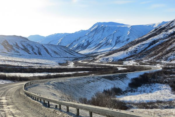 The view southbound on the Dalton Highway