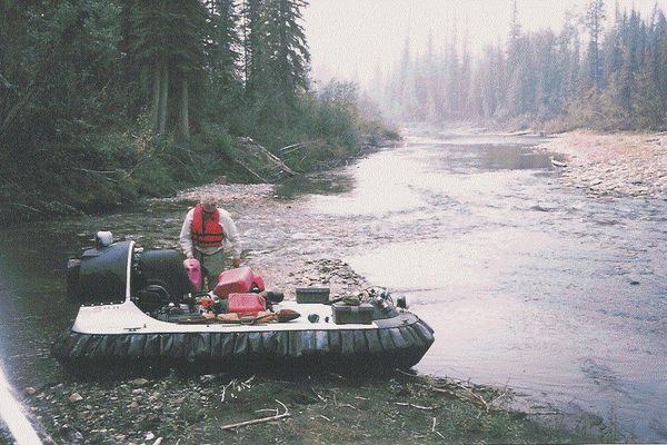 John Sturgeon deals with his Hovercraft on the Nation River. The river is quite shallow at this point. John Sturgeon used a hovercraft in the upper Yukon basin to hunt moose. His case is now being heard in the US Supreme Court. (Photo provided by John Sturgeon )