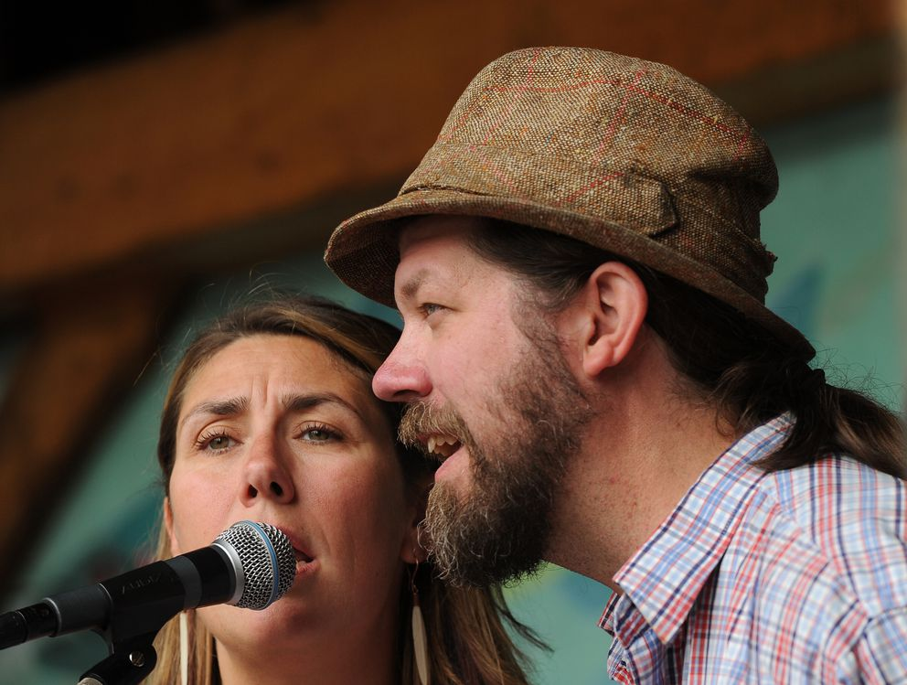 Melissa Mitchell and Spiff perform with the Hope Social Club at the Girdwood Forest Fair on Saturday, July 2, 2016, in Girdwood AK. The 41st annual fair featured music, food, crafts and a hippie vibe. (Bob Hallinen / Alaska Dispatch News)