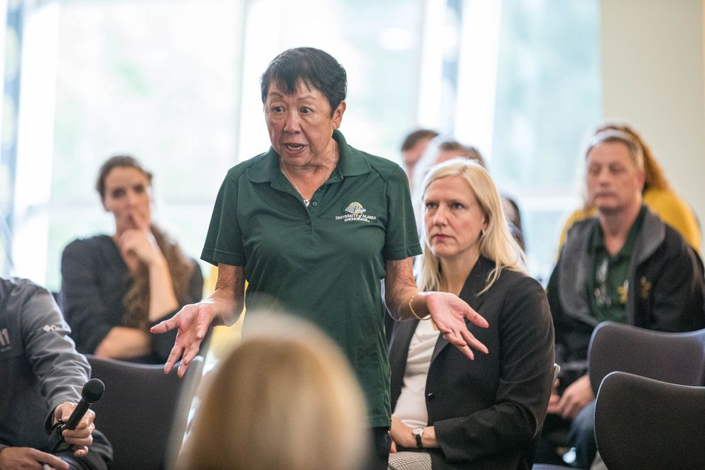 UAA athletics booster Bobbi Olson expresses concern about the future of athletics at the university on Friday, Aug. 2, 2019 during an 'ask me anything ' forum with Chancellor Cathy Sandeen at the UAA/APU Consortium Library. (Loren Holmes / ADN)
