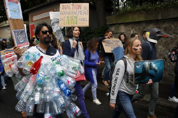 French ecologist and environmental protection groups attend a march in Paris, France Saturday, June 8, 2019 to protest against the degradation of the seas due to pollution, overfishing and climate change. (AP Photo/Francois Mori)