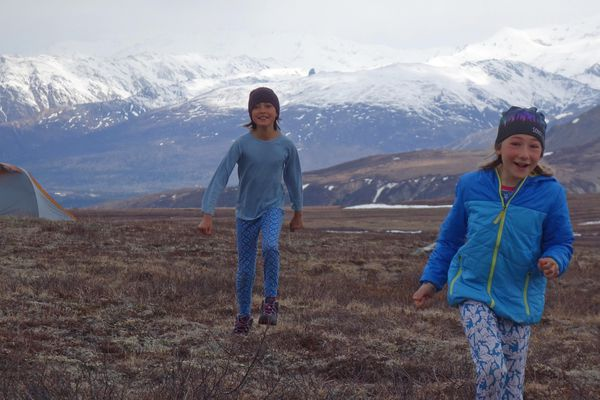 Salak Crowe and Anna Rozell, both 10, in the Alaska Range. (Ned Rozell)