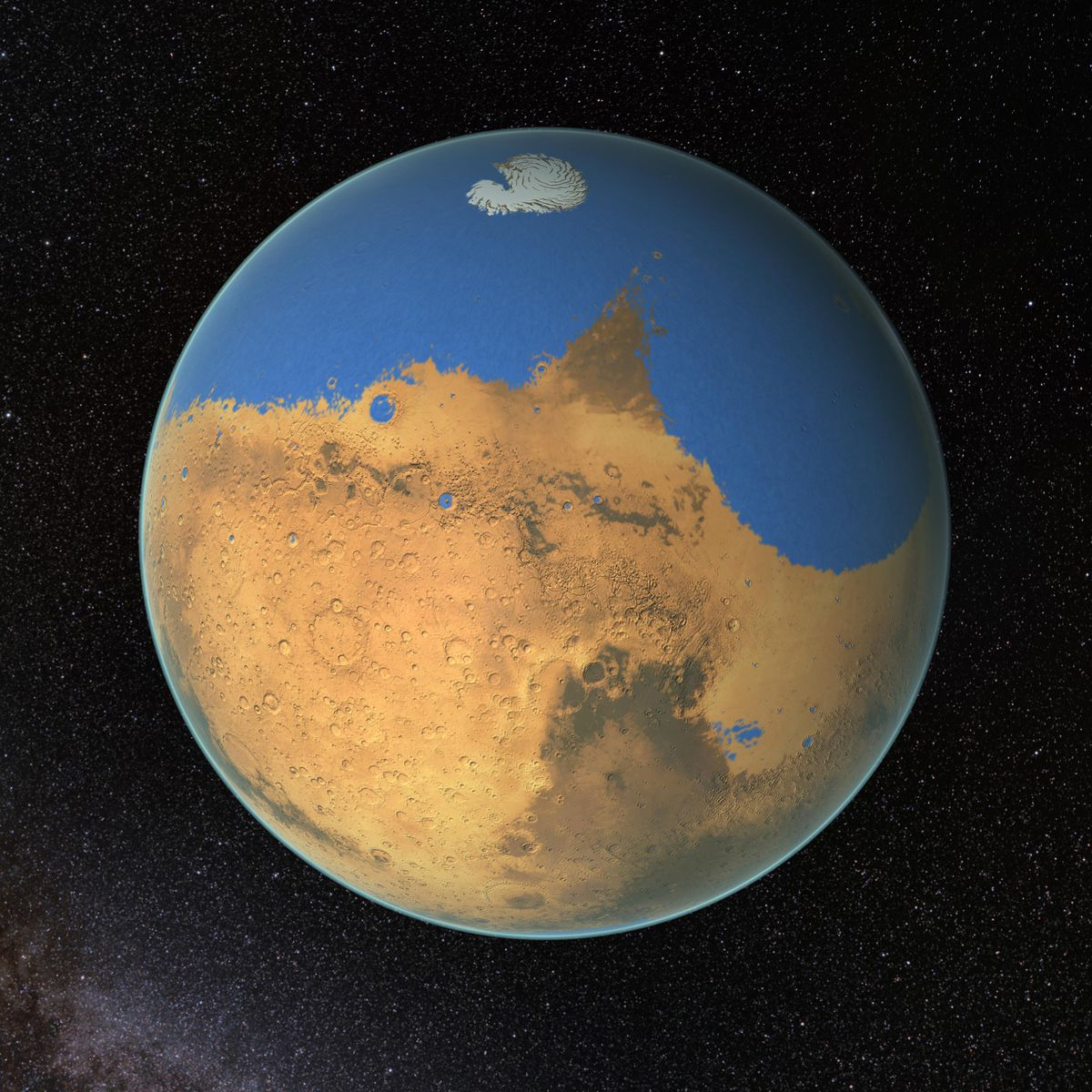 Oceans on Mars formed more than 3.7 billion years ago, earlier than previously thought, and volcanoes might have had something to do with it. (NASA/GFSC)