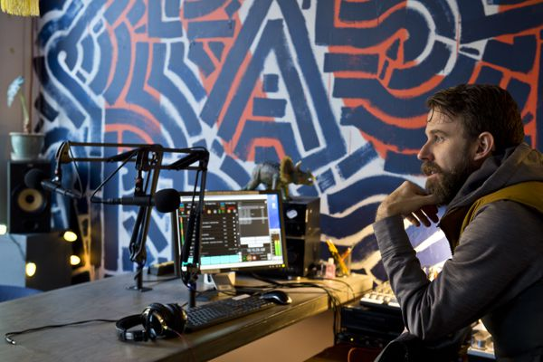 Jason Sear is the station manager of Out North Radio (KONR 106.1), a low-power, volunteer-run station broadcasting from downtown Anchorage. (Marc Lester / ADN)