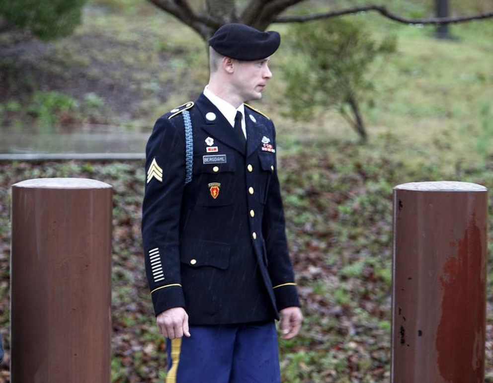U.S. Army Sgt. Bowe Bergdahl leaves the courthouse after an arraignment hearing for his court-martial in Fort Bragg, N.C., on Dec. 22, 2015. (Jonathan Drake/ Reuters file)