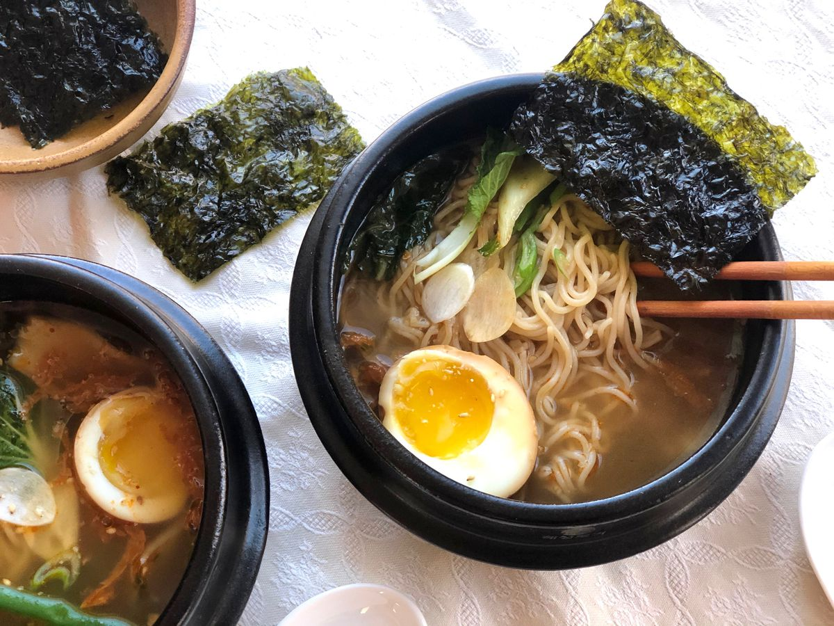 Ramen soup with caramelized kimchi (Photo by Kim Sunée)