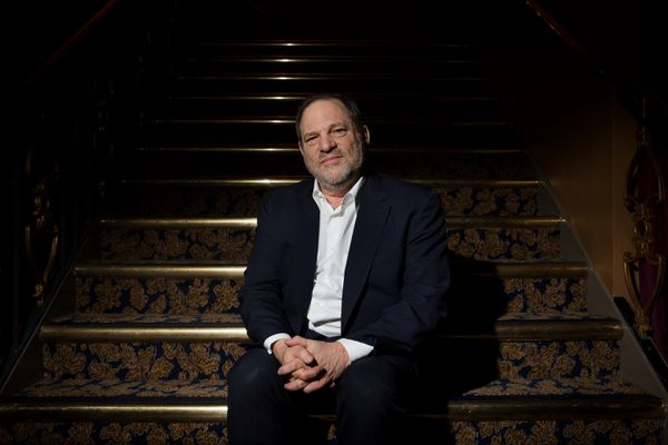 Harvey Weinstein at a rehearsal for the Broadway musical