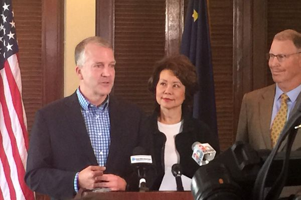 U.S. Transportation Secretary Elaine Chao was in Anchorage on Thursday, August 24, 2017 and announced efforts to speed up project development and streamline the permitting process in Alaska. She came at the invitation of Sen. Dan Sullivan, R-Alaska, left. She met with state Transportation Commissioner Mark Luiken, right, and others about transportation needs in Alaska. (Photo courtesy of Office of Sen. Dan Sullivan)