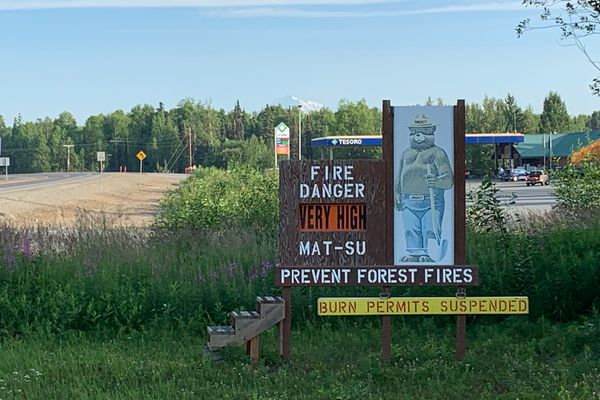 Fire danger in the Matanuska-Susitna Borough remains very high as the Montana Creek Road fire burns near the Talkeetna junction on Thursday, July 4, 2019. (Jeff Parrott / ADN)