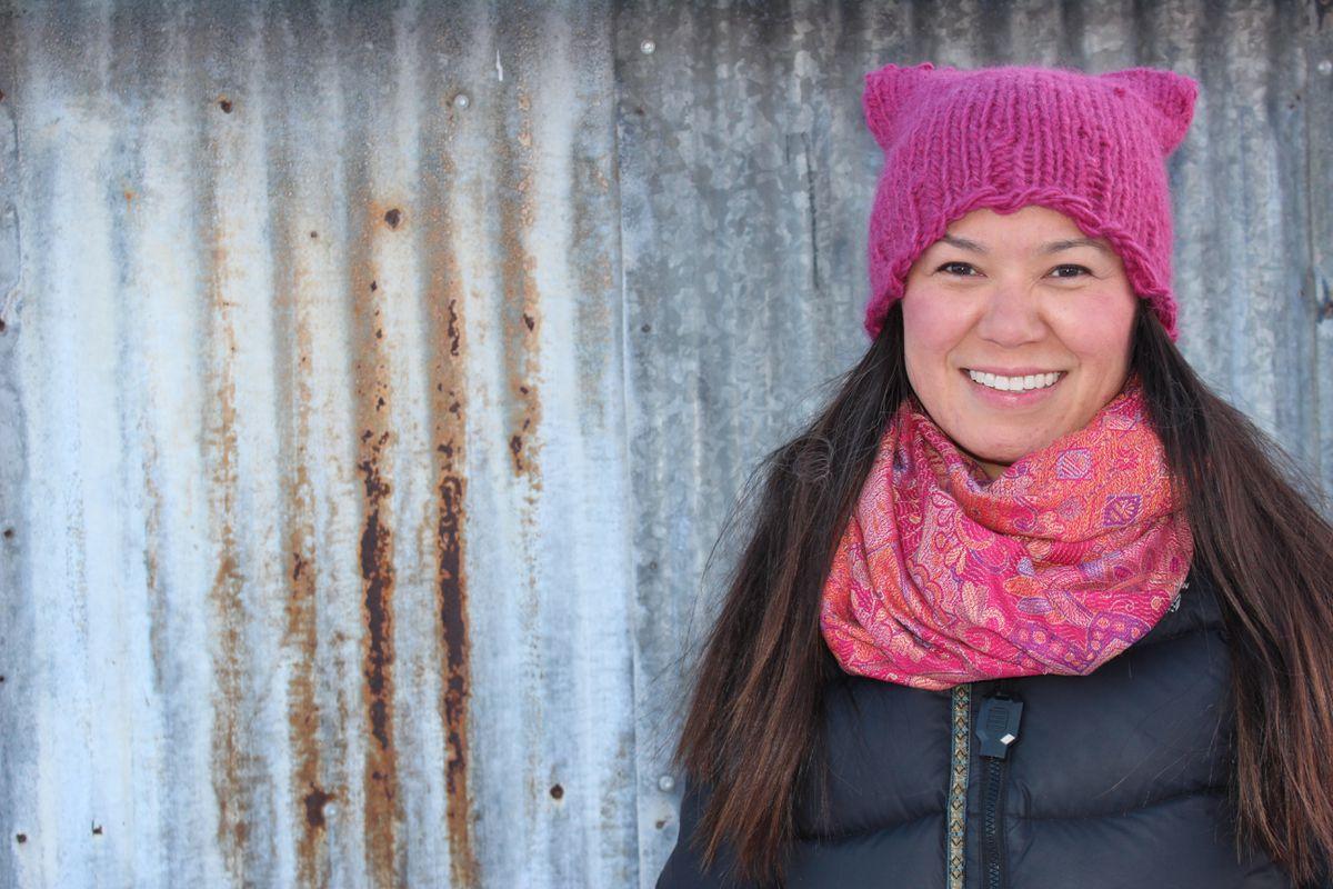 Laureli Ivanoff will march in Unalakleet, Jan. 21, 2017 with her pink hat. (Sidney Kinneen)