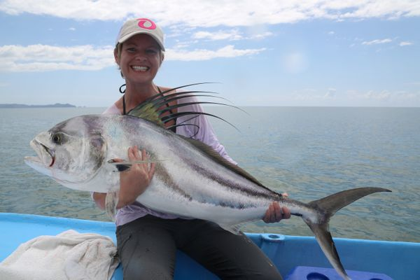 Christine Cunningham holds her big Rooster fish before releasing it off the coast of Costa Rica, Jan. 2015 (Steve Meyer)