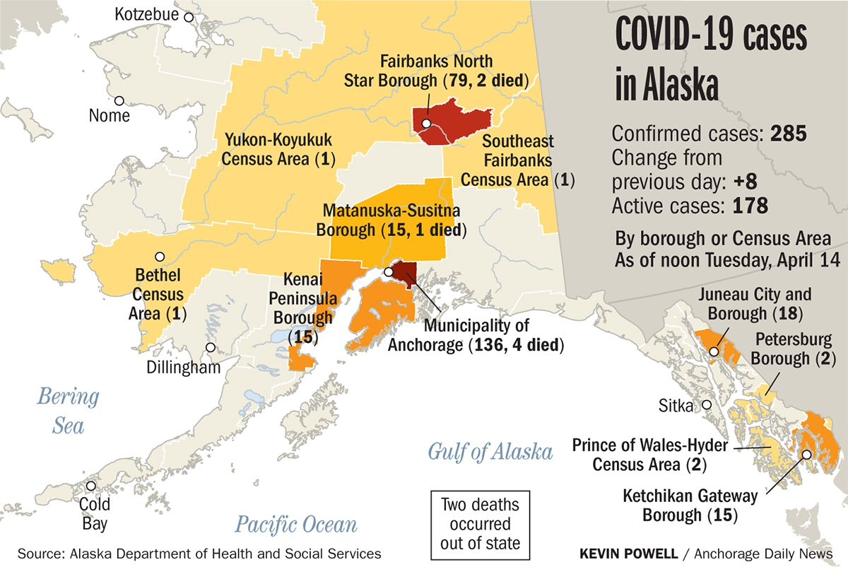 State-reported data on COVID-19 cases in Alaska, based on residency.