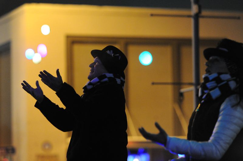 People celebrate the new year at Town Square Park in Anchorage on Sunday, Dec. 31, 2017.  (Bill Roth / ADN)