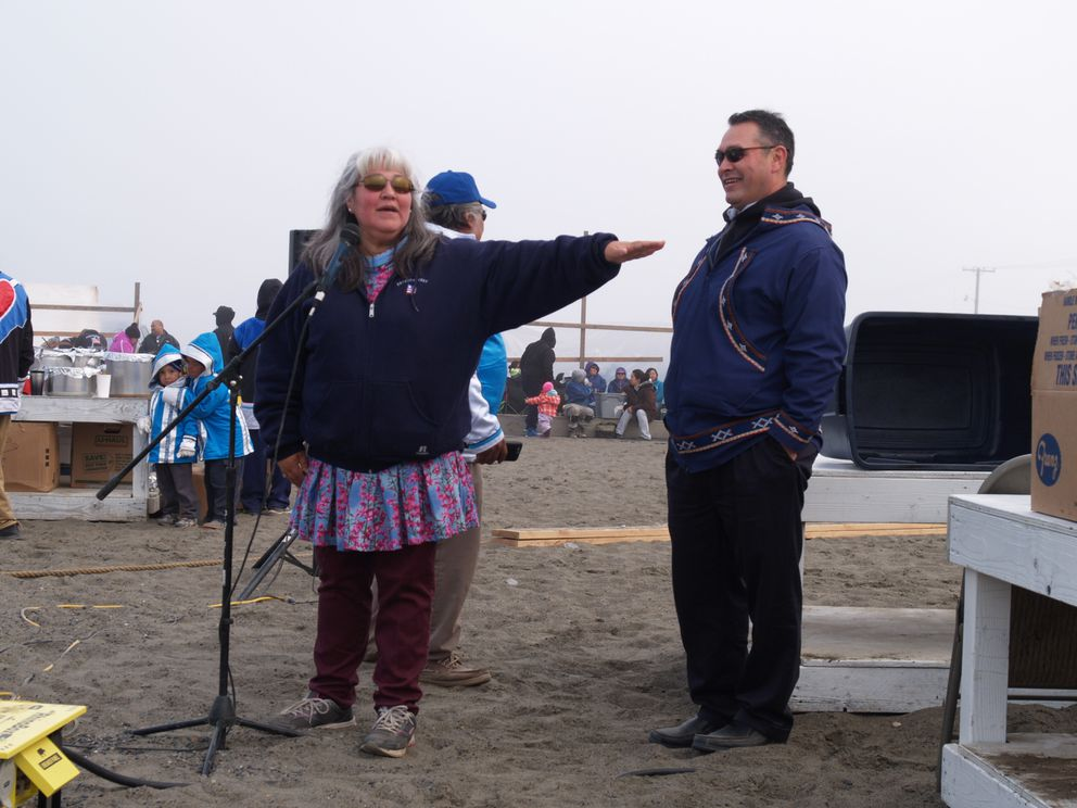 Laura Patkotak and her husband, Crawford Patkotak, welcome the crowds at Nalukataq, a spring whaling celebration in Utqiagvik last year. (Shady Grove Oliver / Arctic Sounder)